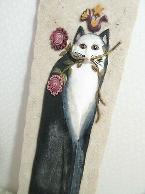Kitty Cat Wall Decor Folk Art By E Smithson 3 D Resin Plaque Hanging
