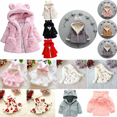 Kids Girls Winter Faux Fur Fleece Thick Coats Warm Hairy Hooded Jacket Snowsuits