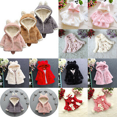 Kids Girl Faux Fur Plush Rabbit Ears Coat Winter Warm Soft Hooded Jacket Outwear
