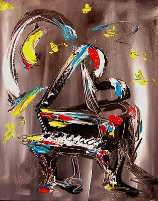 PIANO  MOON  Mark Kazav  Abstract Modern CANVAS Original Oil Painting NR