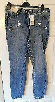 NEXT Blue Embellished Mid Rise Skinny Denim Jeans Size UK 16 EUR 44 BNWT