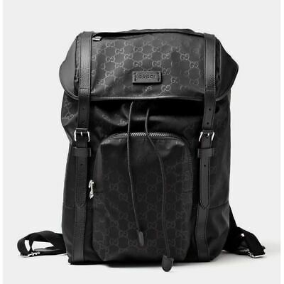 AUTH Gucci Unisex Backpack GG Nylon Drawstring Leather Trim 510336 NWT $1595.00