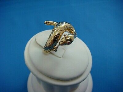 14K Yellow Gold Antique Snake Ring With Ruby Eyes, 9.2 Grams, Size 7