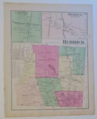 1872 Susquehanna County PA HAND-COLORED Map,HERRICK Townshp,OWNERS,BUSINESSES