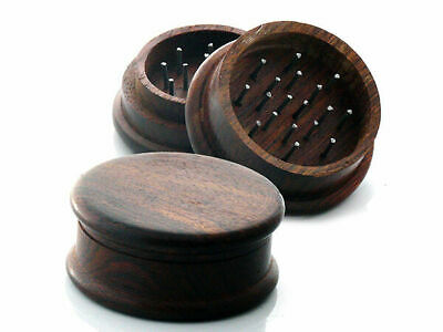 QUALITY WOOD HERB TOBACCO GRINDER, 2 inch,Metal Teeth, Spice,Sifter,Smoking pipe
