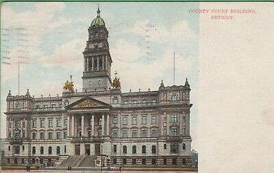 Vintage Antique Detroit Michigan MI Postcard County Court Building posted 1907