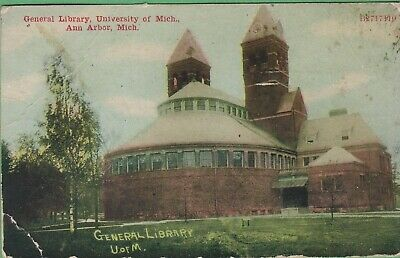 Vintage Antique Michigan MI  Postcard Library University Ann Arbor 1911