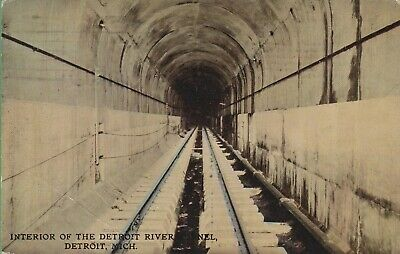 Vintage Antique Michigan MI  Postcard Interior Detroit River Tunnel posted 1914