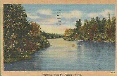 Vintage Antique Michigan MI  Postcard Greetings from Mt Pleasant 1948 Lake View