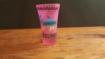 Pink Cozumel Shot Glass with Dolphins.Whiskey Bar Beer Mancave