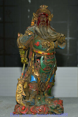 """12.4"""" Old China coloured glaze Painted Dynasty Dragon Guangong general Statue"""