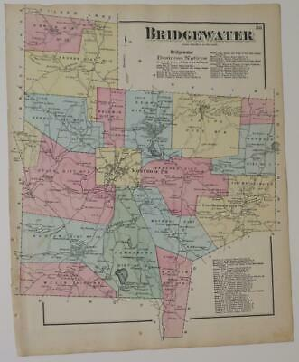 1872 Susquehanna County PA HAND-COLORED Map,BRIDGEWATER Townshp,OWNRS,BUSINESSES