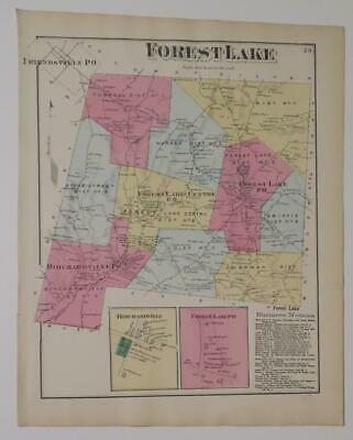 1872 Susquehanna County PA HAND-COLORED Map,FOREST LAKE Townshp,OWNRS,BUSINESSES