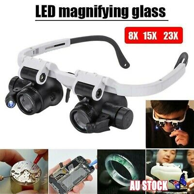 Head-Mounted 8X 15X 23X LED Magnifier Helmet Double Eye Glasses With LED Lamp