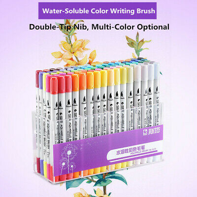80 Colors Dual Tip Brush Markers Pens Art Paint Highlighter Watercolor ink Hot F