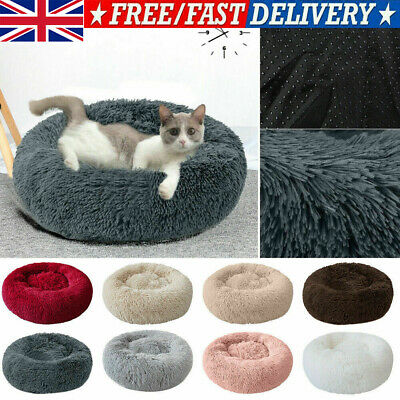 Comfy Calming Pet Dog Cat Plush Bed Round Super Soft Bed Marshmallow Cat Beds UK