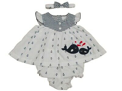 BNWT  Baby girls Navy & white whale summer dress set clothes  NB 0-3 and 3-6 mth