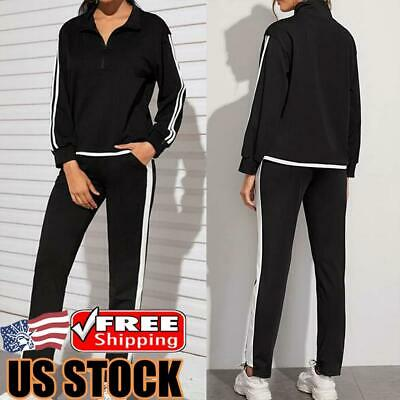 2pcs Women Tracksuit Zip Tops Track Pants Set Jogging Gym Sports Sweatshirt Suit