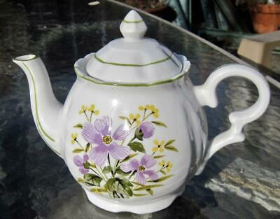 Purple Violets Green Trimmed Two Cup Teapot