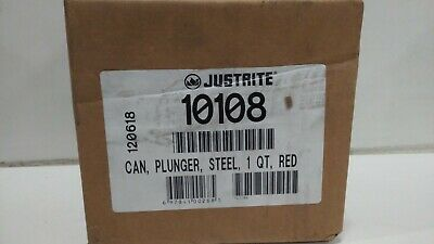 JUSTRITE 10108 Plunger Can,1 qt.,Galvanized Steel,Red