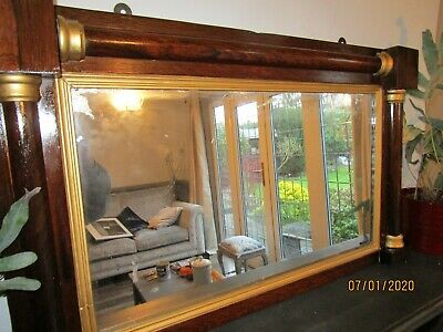 Antique French Early 19th Century Empire Style Mahogany Over Mantle Mirror