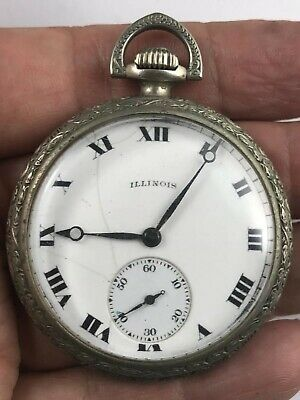 ANTIQUE ART DECO ILLINOIS GRADE POCKET WATCH Working