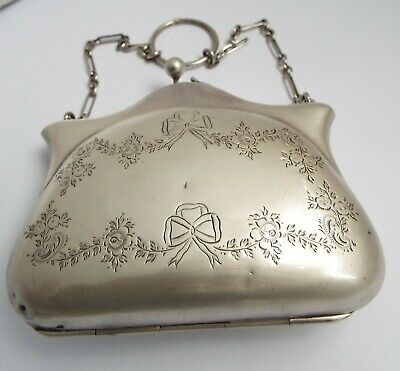 Nice English Antique 1910 Solid Sterling Silver Ladies Handbag Purse For Repair