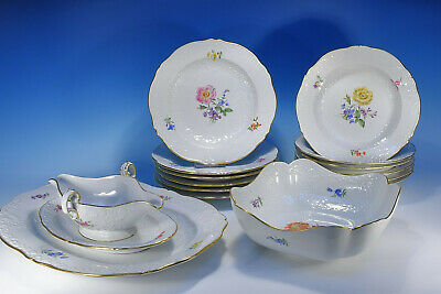 "Meissen "" Marseille Flower 3 Dinner Service for 6 People"