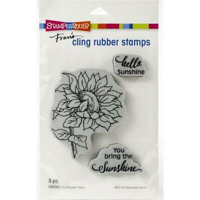 New Stampendous RUBBER STAMP cling SUNFLOWER HELLO FRIEND SET Free USA ship