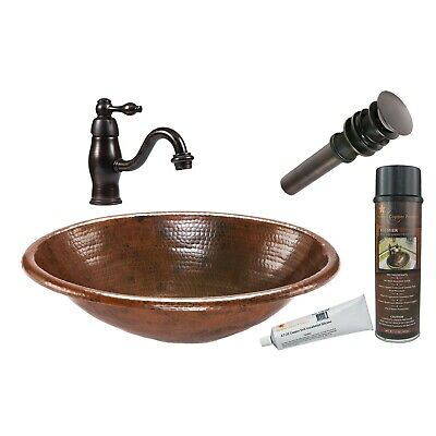 """Premier Copper Products BSP3_LO19RDB 19"""" Oval Self Rimming - Bronze"""