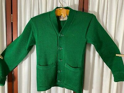 1940's Girl's Athletic Sweater- S- Wulcrest- Green Wool- VG- CLASSIC - SALE