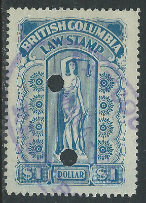 Canada #BCL31(5) 1912 $1.00 blue BRITISH COLUMBIA LAW STAMP 4 Punched CV$12.00