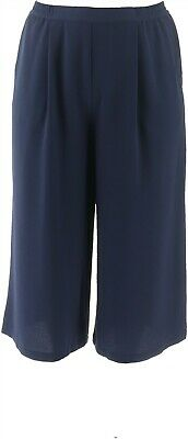 Linea Louis Dell'Olio Gauze Crepe Pull-on Pants Navy L NEW A287614