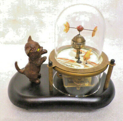ANIMATED Skeletonized Fish & Kitty Clock With Wooden Base & Glass Dome