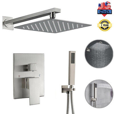 Brushed Nickel Shower Faucet Set Rain Shower Head System Wall Mounted Bathroom