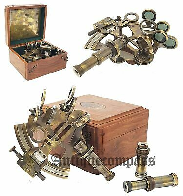 Nautical Kelvin & Hugh Brass Sextant Maritime With Wooden Box Vintage Solid Gift
