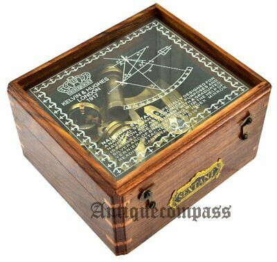 Nautical Antique Brass Navigation Instrument Sextant With Wooden Box