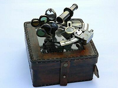 Vintage Brass Sextant Collectible Antique Nautical Marine German W/ Leather Box