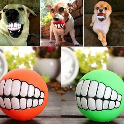 Pet Dog Ball Teeth Funny Silicone Toy Chew Squeaker Squeaky Sound Dogs Play Toy