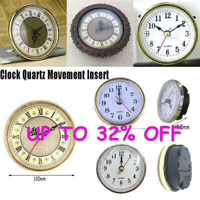 "New Shellhard 2-1/2"" (65mm) Clock Insert Roman Numeral White Face Gold Trim"