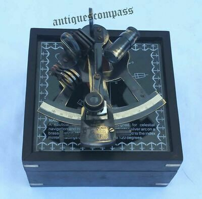 Nautical Antique Maritime Brass Sextant With Wooden Box Vintage Collectible