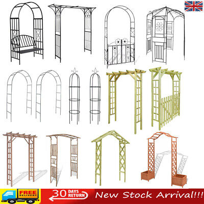 Wooden Garden Arch Gate Arbour Rose Arch Pergola Archway Climbing Plant Metal