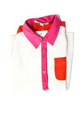 DKNY Childrens Girls Color Blocked Blouse Top White Orange Pink Size Large