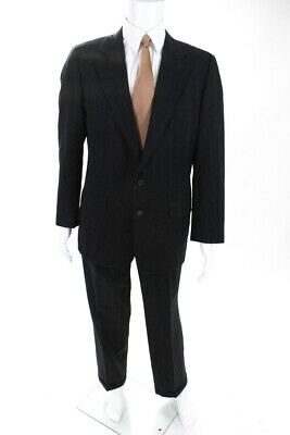 Hickey Freeman Mens Multi Color Pinstripe Two Button Suit Wool Size 40
