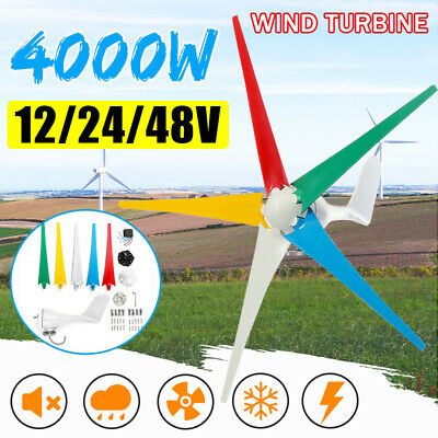 4000W 5 Blades 12V/24/48V Horizontal Wind Turbine Generator + Charge Controller