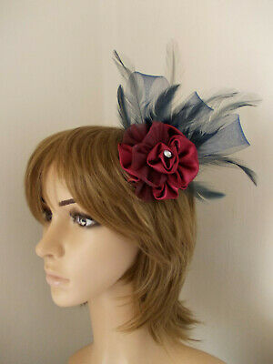 Navy Blue & Burgundy Red Rose flower fascinator feathers hair clip / brooch