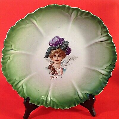"Antique Portrait Plate. 10 3/4"" Hand Painted & Front Signed Period Portrait"