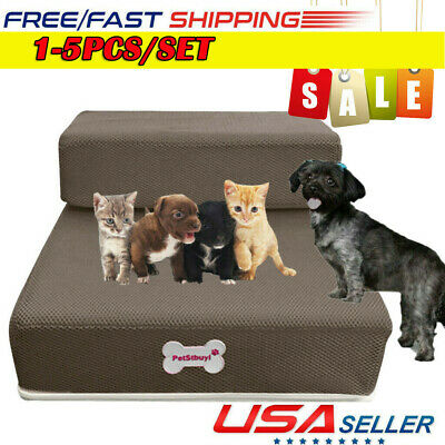 Pet Stairs 2 Steps Soft Portable Cat Dog Ladder Cover Animal Ramp Small Climb