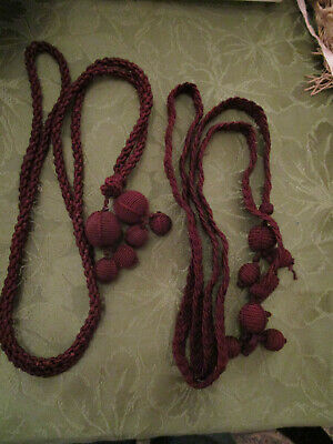 Vintage Victorian Curtain / Drape Tie Backs Burgundy Silk