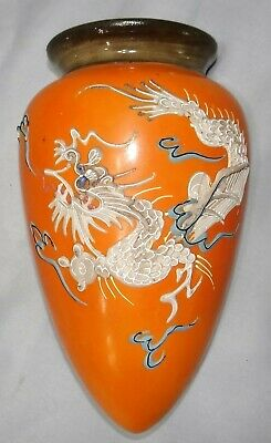 Vtg Ceramic Moriage Dragon Ware Wall Pocket Hanging Planter Vase Orange Japan